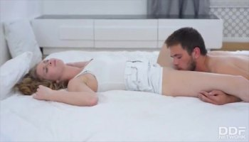 Agreeable beauty receives spooning after oralsex